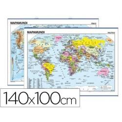 MAPA MURAL MUNDI PLANISFERIO 140X100 CM