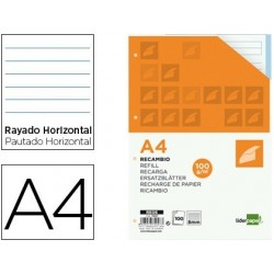 RECAMBIO LIDERPAPEL A4 100 HOJAS 100 G/M2 RAYADO HORIZONTAL 4 TALADROS BANDAS DE 5 COLORES