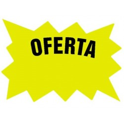 CARTEL CARTULINA ETIQUETAS MARCAPRECIOS AMARILLO FLUORESCENTE 110X80 MM -BOLSA DE 50 ETIQUETAS