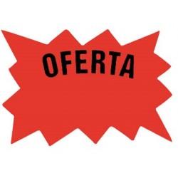 CARTEL CARTULINA ETIQUETAS MARCAPRECIOS ROJO FLUORESCENTE BOLSA DE 50 ETIQUETAS -TAMAÑO 110X80 MM