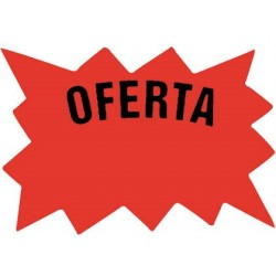CARTEL CARTULINA ETIQUETAS MARCAPRECIOS ROJO FLUORESCENTE160X110 MM -BOLSA DE 50 ETIQUETAS
