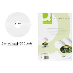 ETIQUETA ADHESIVA Q-CONNECT KF01579 -TAMAÐO CD-ROM -FOTOCOPIADORA -LASER -INK-JET-CAJA CON 25 H/50 ETIQUETAS