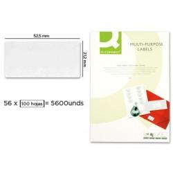 ETIQUETA ADHESIVA Q-CONNECT KF10638 TAMAÐO 52,5X21,2 MM FOTOCOPIADORA LASER INK-JET CAJA CON 100 HOJAS DIN A4