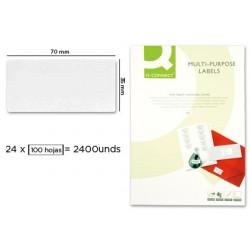 ETIQUETA ADHESIVA Q-CONNECT KF10645 -TAMAÐO 70X35 MM FOTOCOPIADORA LASER INK-JET CAJA CON 100 HOJAS DIN A4