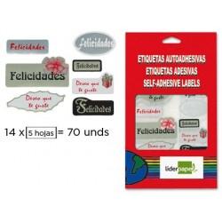 ETIQUETAS LIDERPAPEL FELICIDADES SOBRE DE 5 H.