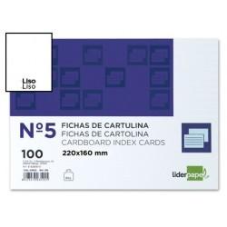 FICHA LIDERPAPEL LISA N║5 160X220MM PAQUETE DE 100 180G